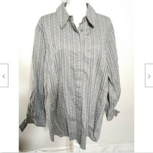 NEW Lane Bryant Shirt Gray Striped Button Front 26